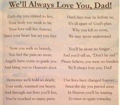 To my daddy whom i miss dearly but i know i will see u soon along wih my grandma and grandpa baby brother too and my prima