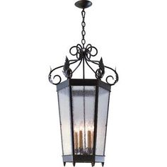 2nd Ave Design Regency 6 Light Outdoor Hanging Lantern Finish: Antique Rust, Shade Type: Earth Marble