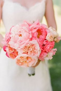 Classic coral charm peony bouquet