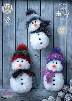 King Cole Tinsel Chunky Easy Knit Knitting Pattern for Snowman Christmas Toys 3 Sizes - I Crochet World Christmas Tinsel, Christmas Toys, Christmas Snowman, All Things Christmas, Xmas, Tinsel Tree, Handmade Christmas, Christmas Ideas, Chunky Knitting Patterns