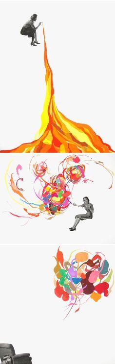 Gorgeous mixed media collages of San Francisco based artist Elizabeth Amento