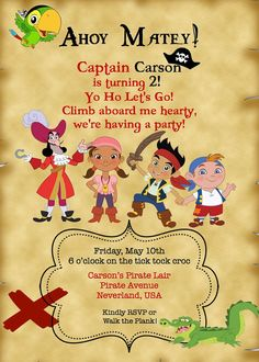 Jake and the Neverland Pirate Invitation on Etsy, $10.00