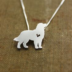 Bernese mountain dog necklace sterling silver, tiny silver hand cut dog pendant with heart,