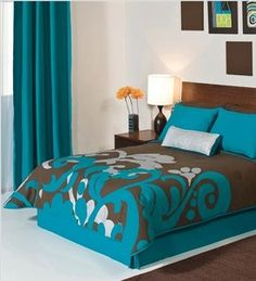 and turquoise blue reversible twin full queen king size comforter