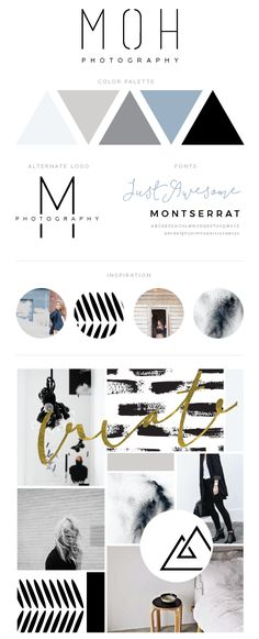 website design process, brand style guide, minimal branding, minimal brand board, cool colors, branding design, photographer branding