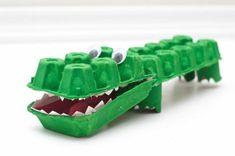 bricolage-boite-a-oeuf-crocodile-avec-des-boîtes-à-oeufs-colorées