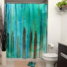 Beach Fence Printed Shower Curtain by JanetAnteparaDesigns on Etsy