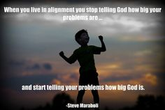 Stop telling God how big your problems are and start telling your problems how BIG your GOD is