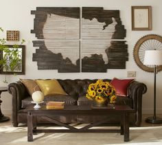 This is what I would want on our wall by the dining room table.....Planked USA Panels | Pottery Barn