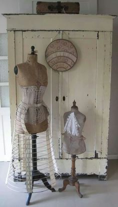 Shabby Chic old dress forms....and lovely old armoire