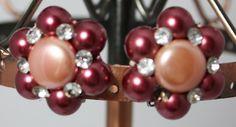 Vintage Earrings Pale Purple and Peach by ilovevintagestuff