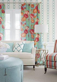 Thibaut Madeira chain wallpaper; Nassau, Kyra Key, Brighton Stripe, Shore Thing and Mara Embroidery fabrics. Thibaut fine furniture: Sutton sofa Wyndham ottoman and Mayfair Chair | The Decorating Diva, LLC