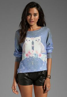 WILDFOX COUTURE Fortunes Fool Space Kitten Baggy Beach Jumper in Multi at Revolve Clothing - Free Shipping!