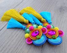 Boho Tassel Earrings with Pom Poms, Colorful Clip On Earrings, Long Soutache Earrings, Silk tassels earrings, Pompom earrings Fabric Earrings, Long Tassel Earrings, Soutache Earrings, Big Earrings, Bridal Earrings, Etsy Earrings, Clip On Earrings, Statement Earrings, Bead Jewellery