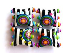 """No, it's polymer clay, not glass---- but it's surely glossy and gorgeous! """"Funky Zebra"""" beads by Sigaliot Designs"""