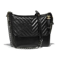 Pre-Owned Chanel Gabrielle Hobo Bag Quilted Chevron Silver/gold-tone Black Hobo Handbags, Chanel Handbags, Cheap Handbags Online, Fall Collection, Cheap Purses, Black Leather Tote Bag, Shopping Chanel, Purse Styles, Chanel Fashion