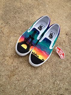 Custom Canvas Vans Shoes from hayraedesignz on Etsy. Shop more products from hayraedesignz on Etsy on Wanelo. Vans Customisées, Tenis Vans, Converse, Painted Vans, Hand Painted Shoes, Painted Canvas Shoes, Sock Shoes, Shoe Boots, Sharpie Shoes