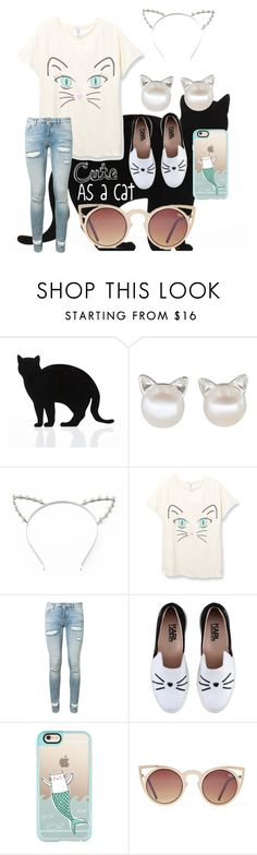 """""""Cute as a cat #spiritweek"""" by tadapuppy on Polyvore featuring 157+173 designers, Candie's, Off-White, Karl Lagerfeld, Casetify and Quay"""