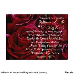red roses all around wedding invatation card