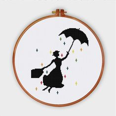 Mary Poppins cross stitch pattern pop culture modern nursery design