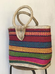 274e2c120beb Large Mexican Market Bag with Handles   Multi-Colored Vintage Mexican  Market