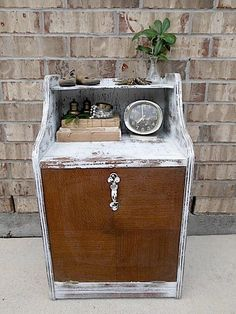 The Naked Truth  Mid Century  Upcycled  Vintage by TimelessNchic, $79.95 #white #upcycled #wood #vintage #cabinet #nightstand #table