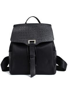 Shop Crocodile Embossed Faux Leather & Nylon Backpack - Black online. SheIn offers Crocodile Embossed Faux Leather & Nylon Backpack - Black & more to fit your fashionable needs.