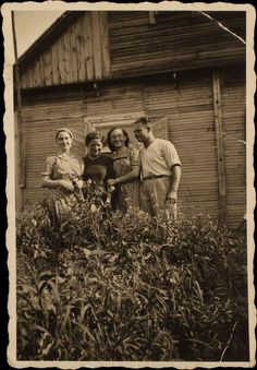Shifra (far left) and Dora (second from right) Reznik with friends in prewar times. The two Jewish women escaped the massacre of September 9, 1941, in which Germans and their Lithuanian collaborators killed 740 men, women, and children in fields outside the town. They survived in hiding until liberation, thanks to the help they received from their Muslim neighbors, Jonas and Felicija Radlinskas