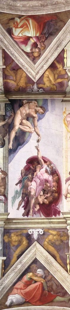 ❤ MICHELANGELO BUONARROTI (1475 - 1564)  ~ A Sector Of The Ceiling Of The Sistine Chapel  ~ via @butterbean2001~ c.c.c~ Really, Truly, Amazing! ....What Luck And Joy To Experience It Up Close, Through This Expanding Pin, Via Pinterest!
