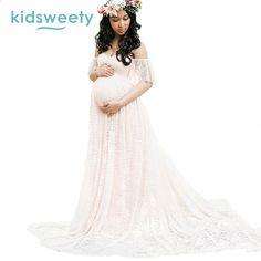 e47ae4aed Eleganckie damskie sukienki dla ciężarnych Slash Neck Lady Mermaid Party  suknia macierzyński sukienka Photogrphy Formalne szaty