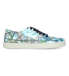 GUCCI Blossom Logo And Bloom-Print Canvas Trainers. #gucci #shoes #trainers
