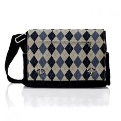 This is not plaid, but I would wear it very well!! Argyle eco messenger bag
