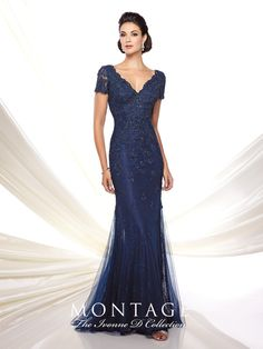 Ivonne D 116D32 Lace and tulle slim trumpet gown with lace illusion short…