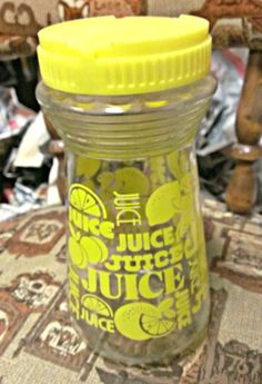 Vintage Lemonade Glass Pitcher with Retro Juice Design. Now you can relax and trade that lame paper bag for long island walks imbued with good brew. Perfect for picnics, parks, concerts and pancake socials. Rest assured, nobodys Geronimo-ing your jooise from this classic container!