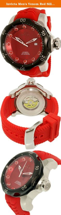 Invicta Men's Venom Red Silicone Band Steel Case Automatic Analog Watch 19302. The Venom collection from Invicta presents this bold and vibrant timepiece with a red silicone strap and matching dial, making for a stylish timepiece that will accentuate any wardrobe. A water resistance of 1000M makes this the perfect companion for all your aquatic adventures.