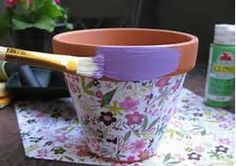 Decorating Clay Flower Pots ~Bing images