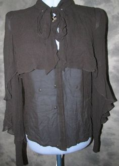 Warehouse,ladies,black,size 12,no pattern,long sleeved,ruffle ,Formal,Blouse.