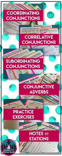 Teach students how to use the four types of conjunctions in their writing: coordinating, correlative, subordinating, and conjunctive adverb. Engaging grammar lesson bundle for middle and high school students, which includes notes, exercises, and station activities.