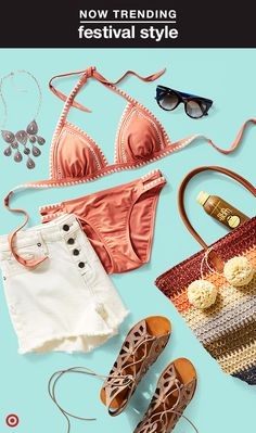 On-trend swimwear is a must for your festival wardrobe, and this season's can't-miss trend is all about stitched details. Fully embrace the vibe with this triangle bikini and crochet beach bag, or just show a hint of detail by pairing the bikini top with denim shorts and sandals—because how cute will the top look layered under a floaty tank?
