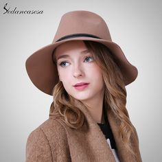 fe5ec0f25ba Australia Wool Felt Hat England women Fedora Hat wide brim hats for elegant  lady hat Christmas GIfts FW027059B