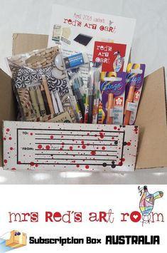 Mrs Reds Art Cart is one of our favourite subscription boxes we have reviewed from Australia! Get creative, get arty, and get your Mrs Reds art cart!   #Artbox #crafts #subscriptionboxaustralia #subscriptionboxaddicts #subscriptionboxau #subscriptionboxaus #creative #Fun #redsartcart Art Cart, Red Art, Subscription Boxes, Australia, Creative, Fun, Crafts, Manualidades, Handmade Crafts