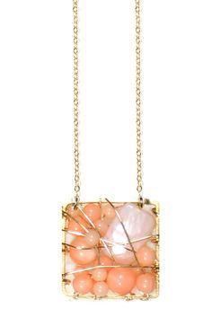 Entwine Collection Square Peach Pendant Necklace