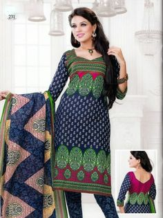 Designer Pure Cotton Ethnic Printed Indian Salwar Kameez Suit (Any Sizes) SG-231