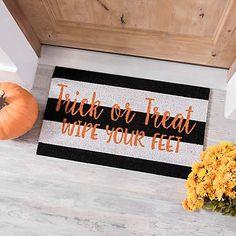 Diy Steampunk Home Decor Trick or Treat Striped Coir Doormat Casa Halloween, Halloween Home Decor, Holidays Halloween, Halloween Crafts, Halloween Decorations, Halloween Countdown, Outdoor Halloween, Halloween 2017, Pumpkins