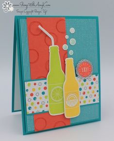 I used the Stampin' Up! Bubble Over stamp set bundle from the upcoming 2018 Occasions Catalog and the Bubbles & Fizz DSP from the upcoming Sale-a-bration Catalog to create my card to shar…