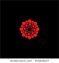 Isolated abstract red color flower vector logo. Round shape sun illustration on the black background. Spiral molecular structure. Virus image. Medical element. Firework sign. Paint drops splash.
