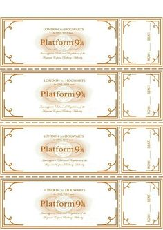 Harry potter train tickets