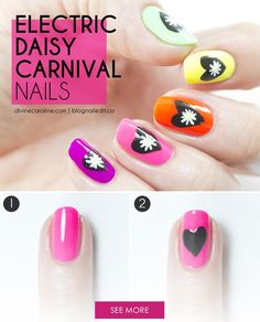 Electric Daisy Nail Art for Any Music Festival - Whether you're sweating it out at Coachella or raving the night away at EDC, music festivals seem to be on everyone's lineup this summer. So, we decided to show you some fun, festival daisy nail art that's perfect for whatever show you've got tickets for.