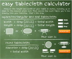 Easy Tablecloth Size Calculator