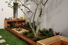 gardens and outdoor spaces for kids. Lovely built in sand pit. Put chalkboard up behind also?